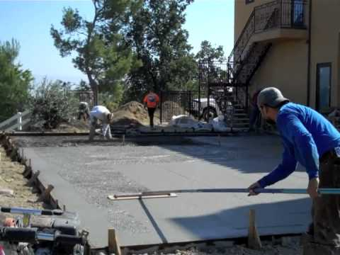 Sport court concrete pour for tennis court youtube for How to build a sport court