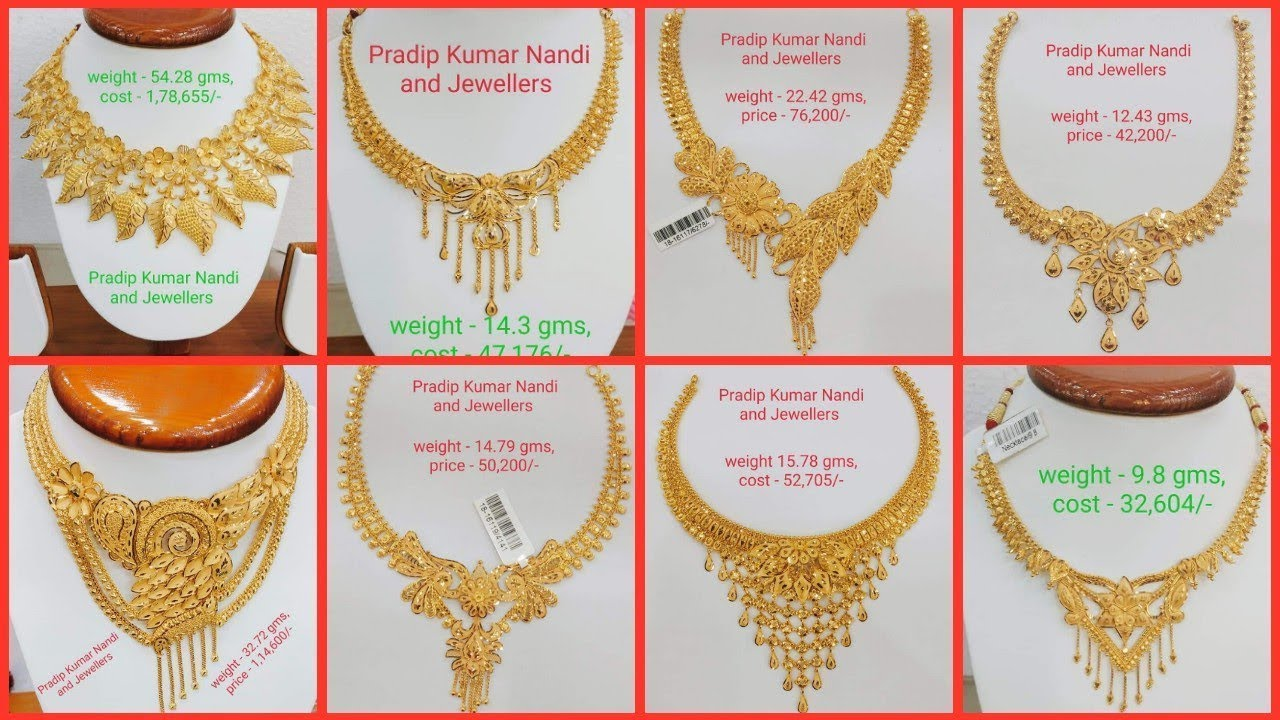 Latest Gold Necklace Designs With Weight And Price Youtube