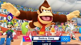 Mario and Sonic at the London 2012 Olympic Games (Wii) - 100m Sprint All Characters Gameplay