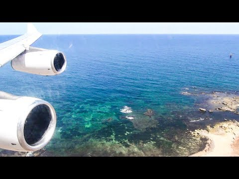 Airbus A340-300. Sunny Landing in Palermo, Sicily, Italy