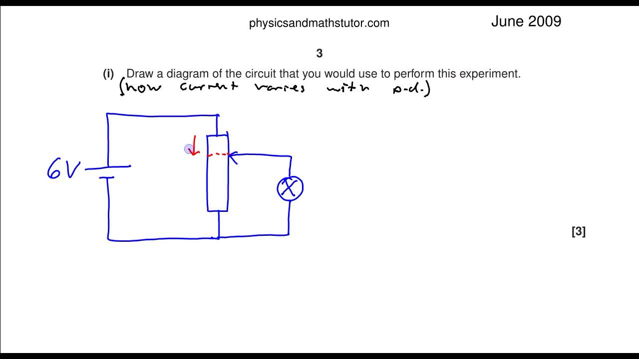 Ocr Physics A Level June 2009 Unit 2 Q1ci Potential Divider Voltage Rule Build Circuit