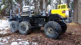 RC ADVENTURES - 6x6 Heavy Haul transports Diamond Mine Diesel Engine - WiNTER RiVER TRAiL