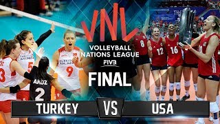 GOLD Match (USA vs TURKEY) - FINAL HIGHLIGHTS | Women's VNL 2018