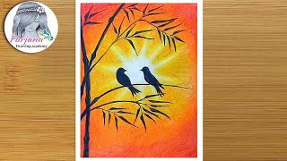 How to draw scenery of sunset with Oil Pastels step by step