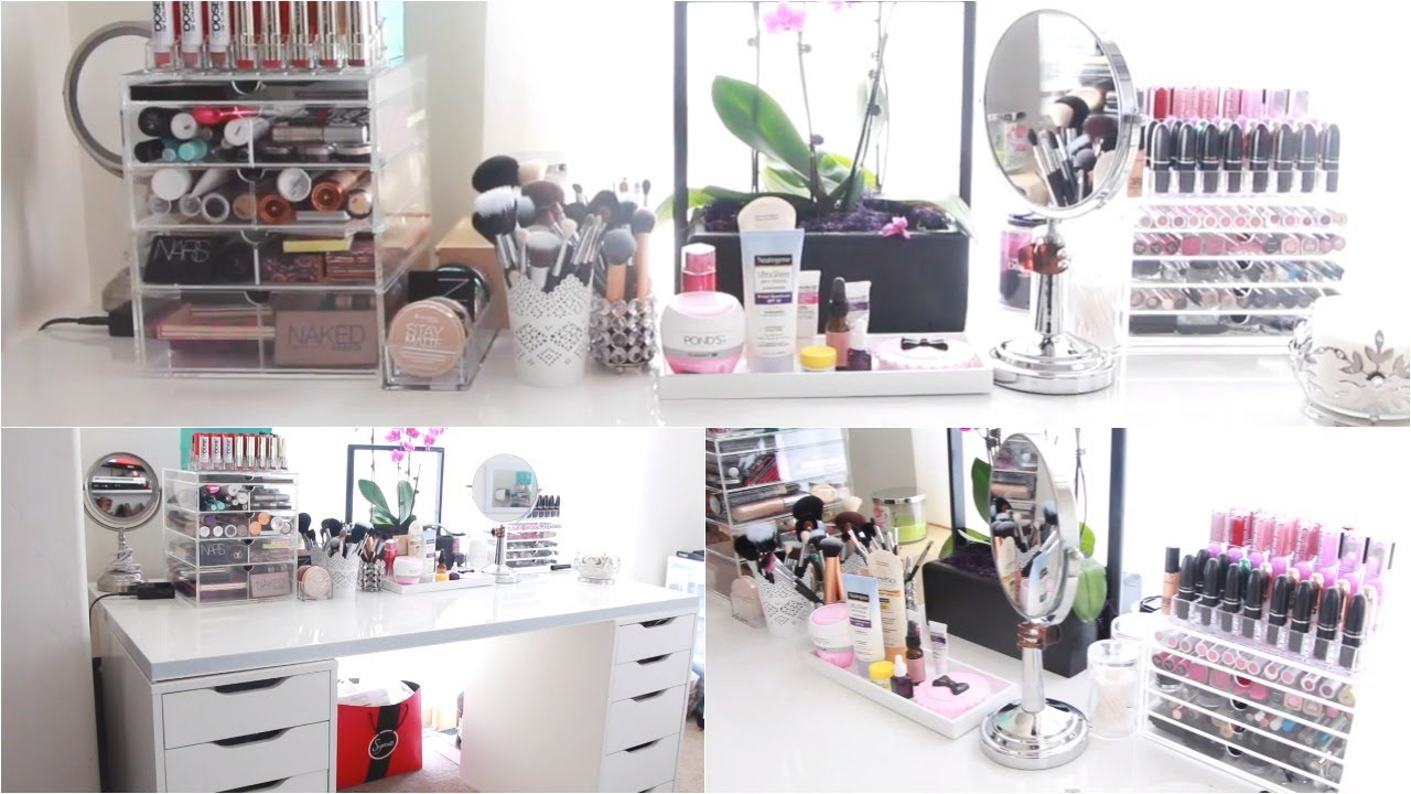 closet dressing room ideas - Vanity Tour & Makeup Collection