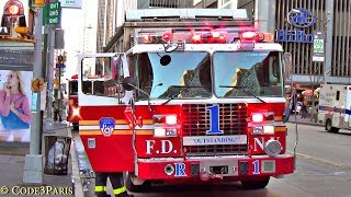 FDNY One Scene Compilation of Fire Engines & Trucks: RARE Field Comm Unit, Rescue 1