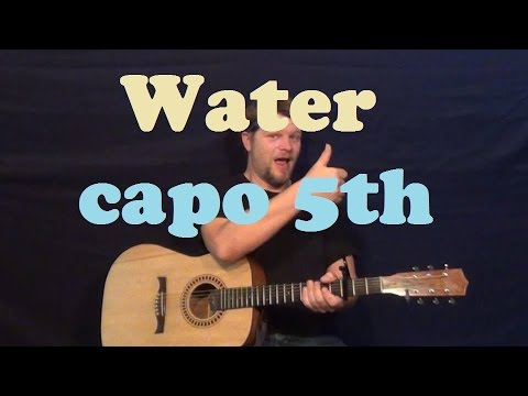 Water (Brad Paisley) Easy Strum Guitar Lesson How To Play Tutorial - Capo 5th
