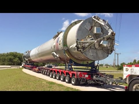 How does SpaceX transport the Falcon 9?