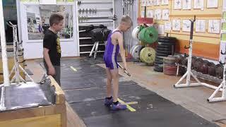 Фёдоров Кирилл, 9 лет, собст  вес 26 кг Рывок от бедра в сед 16 кг Новичок