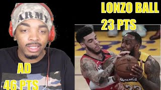 LONZO BALL FIRST GAME VS LAKERS | LAKERS VS PELICANS HIGHLIGHTS REACTION