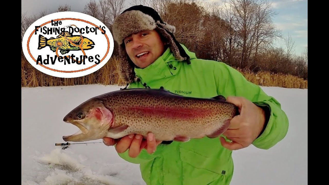 How to ice fishing brood stock rainbow trout youtube for How to ice fish