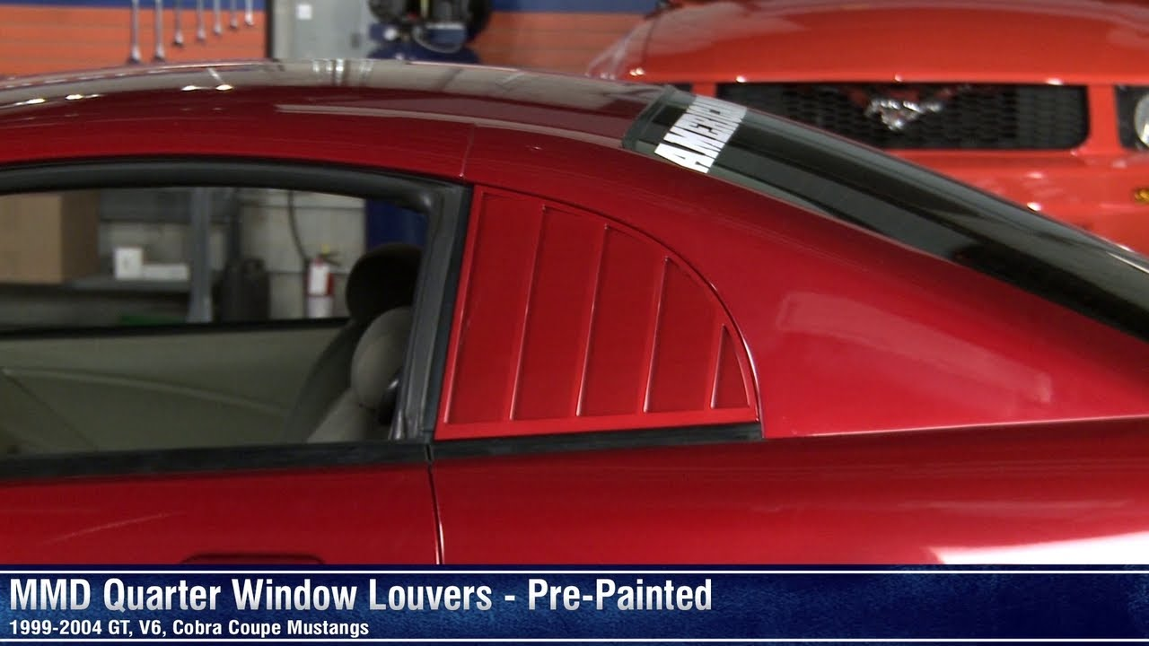 04 Mustang Gt >> Mustang MMD Quarter Window Louvers - Pre-painted w/ Blackout (99-04 GT, V6, Cobra Coupe) Review ...
