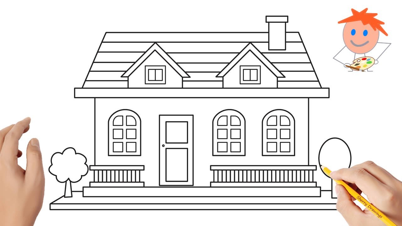 How to Draw a House Easy Step by Step Drawing for Kids