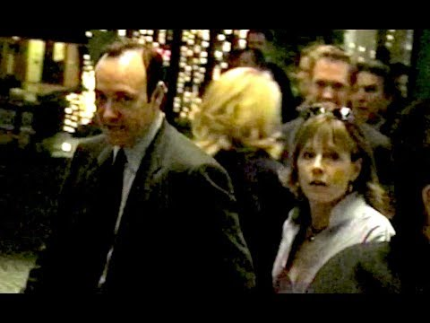 KEVIN SPACEY and girlfriend DIANNE DREYER leave Miramax party