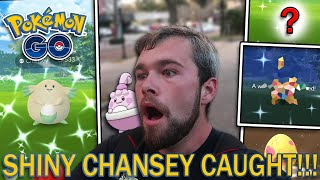 SHINY CHANSEY CAUGHT! 3 SHINY POKEMON FOUND! (Pokemon GO Valentines Event)