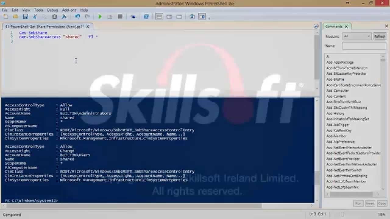 Windows PowerShell: Retrieving Current Share Permissions