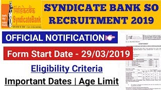 SYNDICATE BANK SO RECRUITMENT OUT 2019 || Check All Details Here...