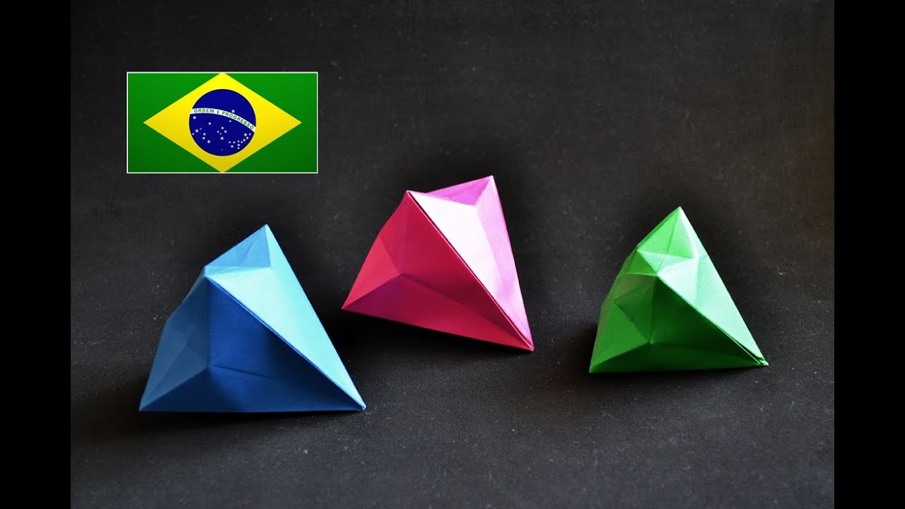 Papercraft Origami: Diamante - Instruções em português PT BR