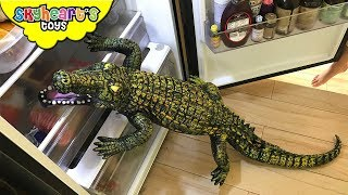 GIANT CROCODILE on our refrigerator! Skyheart Daddy battles reptile monster alligator croc kids
