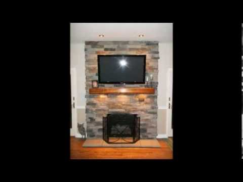 Fireplace Re Face From Brick To Stone With Electric For Tv