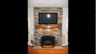 Fireplace re-face from brick to stone with electric for TV