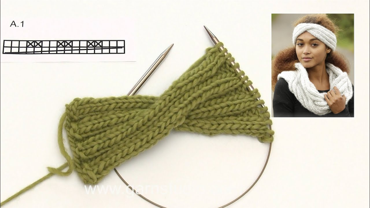 How to knit the head band in DROPS 173-8 - YouTube