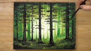 How to Paint a Forest / Acrylic Painting Technique #431