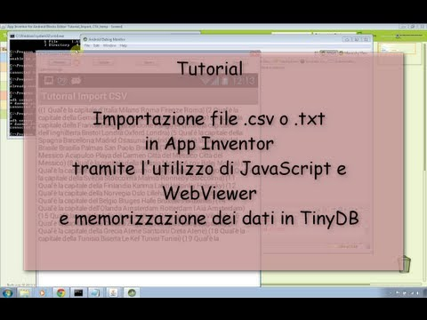 Tutorial - Importare file .csv in Android App Inventor usando JavaScript
