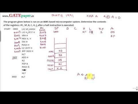 GATE 1991ECE Find the contents of PC, SP, B,C,H and L registers after HLT instruction