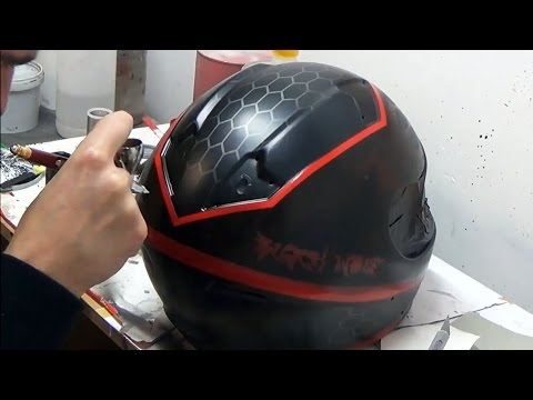 Black Wolf (inspired Witcher 3 Wild Hunt) design painted on motorcycle helmet - aerograf airbrush