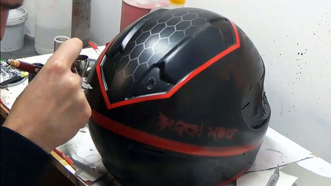 Download Black Wolf (inspired Witcher 3 Wild Hunt) design painted on motorcycle helmet - aerograf airbrush