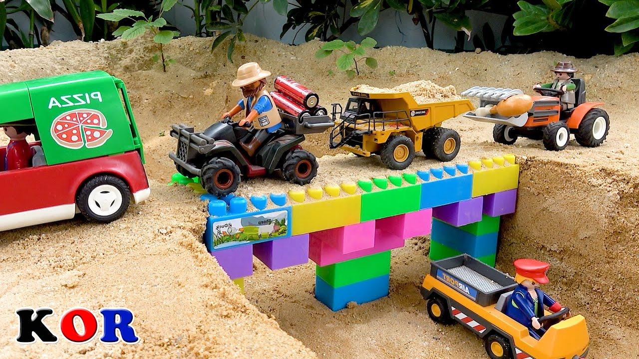 블럭 다리 만들기 크레인 트럭 구출 도와주기 자동차 장난감