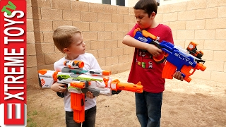 One of ExtremeToys TV's most viewed videos: Nerf Gun Fight! Ethan with the Nerf Hyperfire Vs Cole with the Nerf Modulus Ecs-10 Blaster