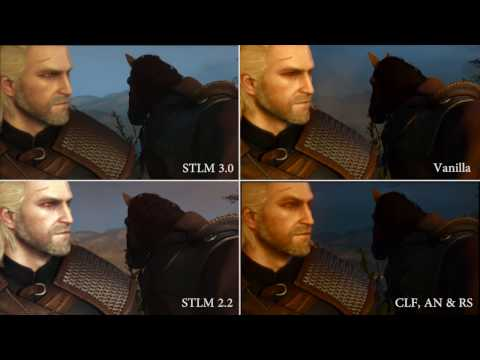 Witcher 3: STLM 3.0, STLM 2.2, Vanilla and Modded Comparison: Please Watch in Full Screen 1440P for the best viewing. A Short Comparison of super turbo lighting mod 3.0 and 2.2 as well as a slightly modded version and vanilla.  More of a complilation, stop and pause type video as opposed to the other one.  Hoperfully the video conveys it but STLM 3.0 is a big improvement  from the previous version,  more so in the fact that its far more consistant. Used to be it was just the main areas and if you went say to the east of novigrad or or went to kaer morhen and white orchard that suddenly it just didnt look good, now all area are bought up to an, at very least, good standard if not great.  Mod Link STLM: http://www.nexusmods.com/witcher3/mods/657/ Atmospheric Nights: http://www.nexusmods.com/witcher3/mods/1305/? Character Lighting Fix: http://www.nexusmods.com/witcher3/mods/2032/? Enhanced Vanilla Reshade http://www.nexusmods.com/witcher3/mods/2073/?  Other Mods Used: AQUA BLOOD MoreShadows CustomLocalistationFix PEEPERS Skin Enhanced Splash
