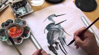 Paint Blue Herons in Sumi and Watercolor with Henry Li