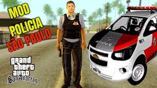 MINHA Primeira VEZ Como Policial no GTA SAN ANDREAS MOD POLICIA