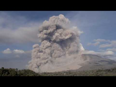 Sinabung  pyroclastic flows with twister and volcanic lightning