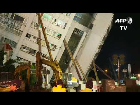 Rescuers Scour Tilting Buildings After Taiwan Earthquake Kills Six People