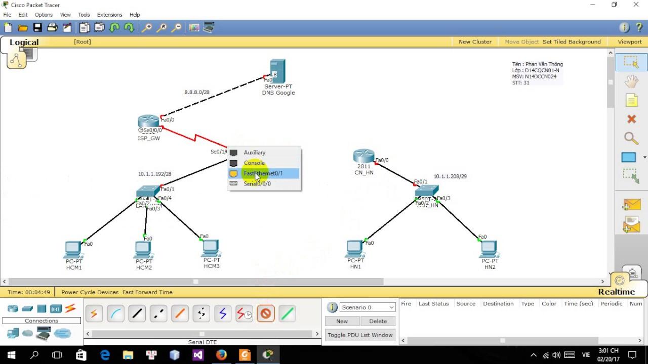 Thực hành sử dụng phần mềm Cisco Packet Tracer (Part1)