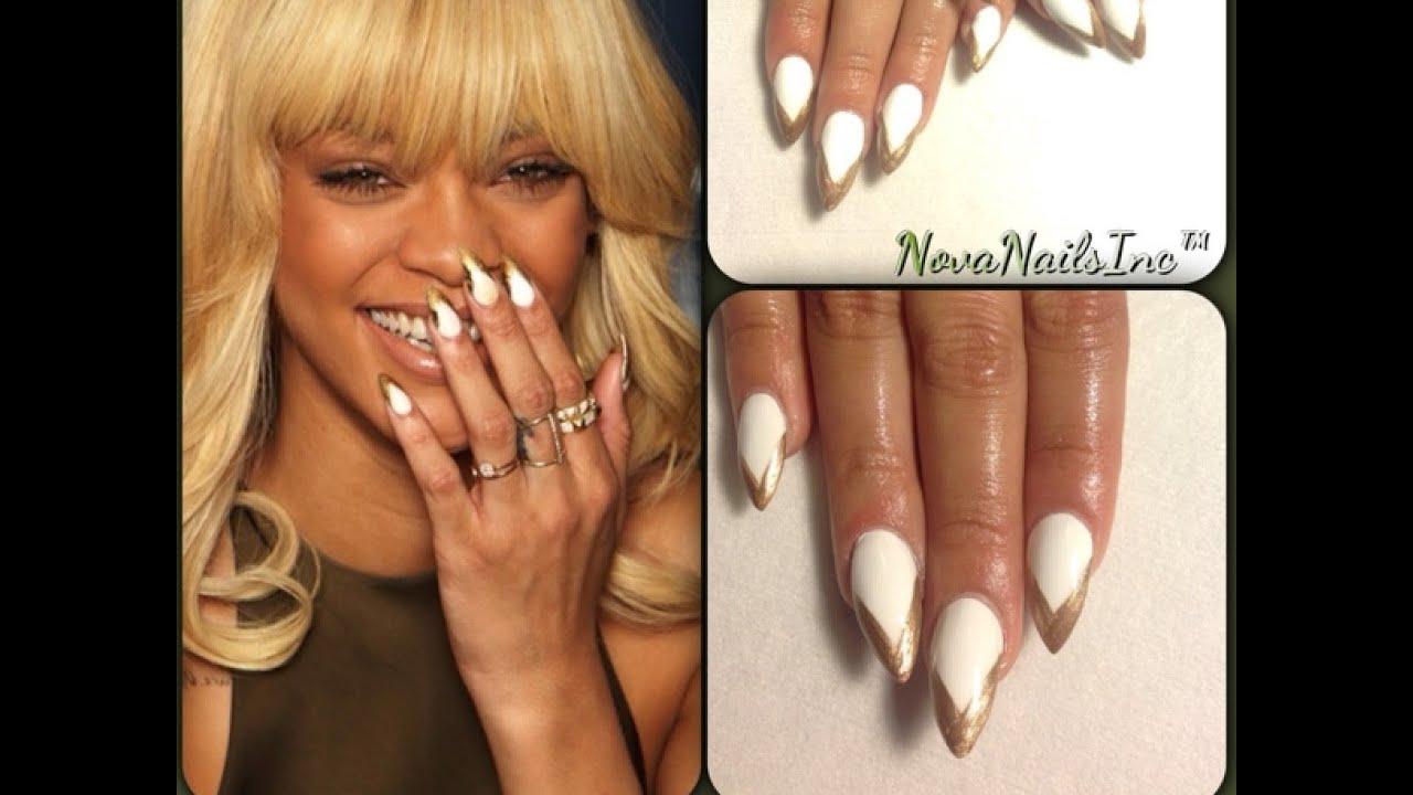 Tutorial Uñas Acrilicas Blanco Y Dorado De Rihanna