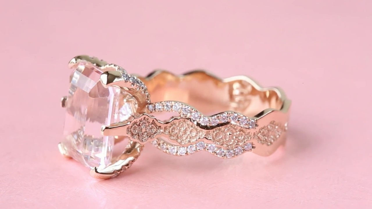 Glamorous Morganite Engagement Ring by Precious Lace Jewelry - YouTube