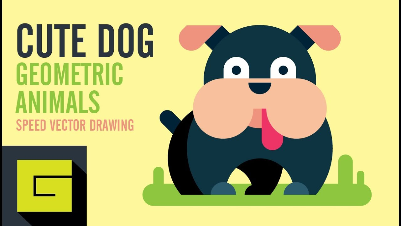 How To Draw A Dog, Speed Drawing, Adobe Illustrator Tutorial
