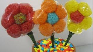 how to make a candy gum drop flower bouquet i   ep simplekidscrafts