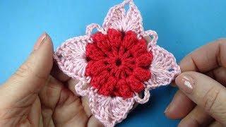 Crochet square Квадратный мотив с попкорном   Вязание крючком Урок 384