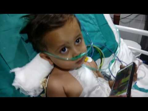Baby watching youtube video after cardiac surgery