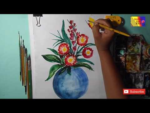 How To Draw A Flower Pot Easy Steps By Step Water Color Drawing