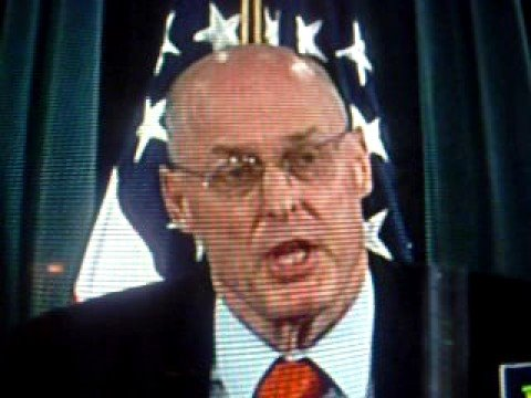 Henry  Paulson Stutters when asked ecomomy question