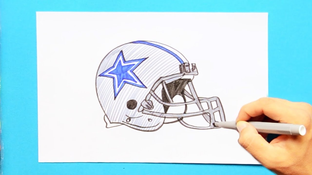 How To Draw The Dallas Cowboys Helmet Nfl Team Youtube