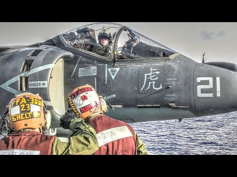 Harrier Jet Operations Aboard Amphibious Assault Ship