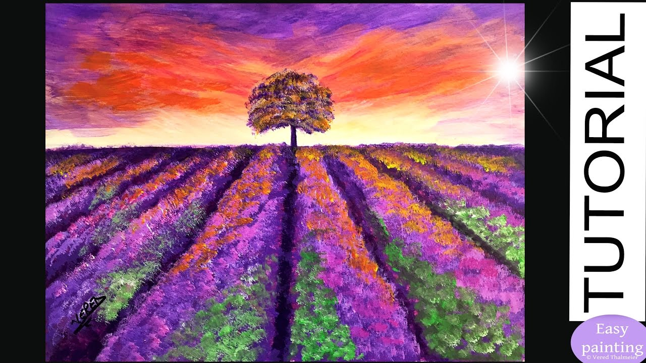 How To Paint Lavender Field Painting Tutorial Step By